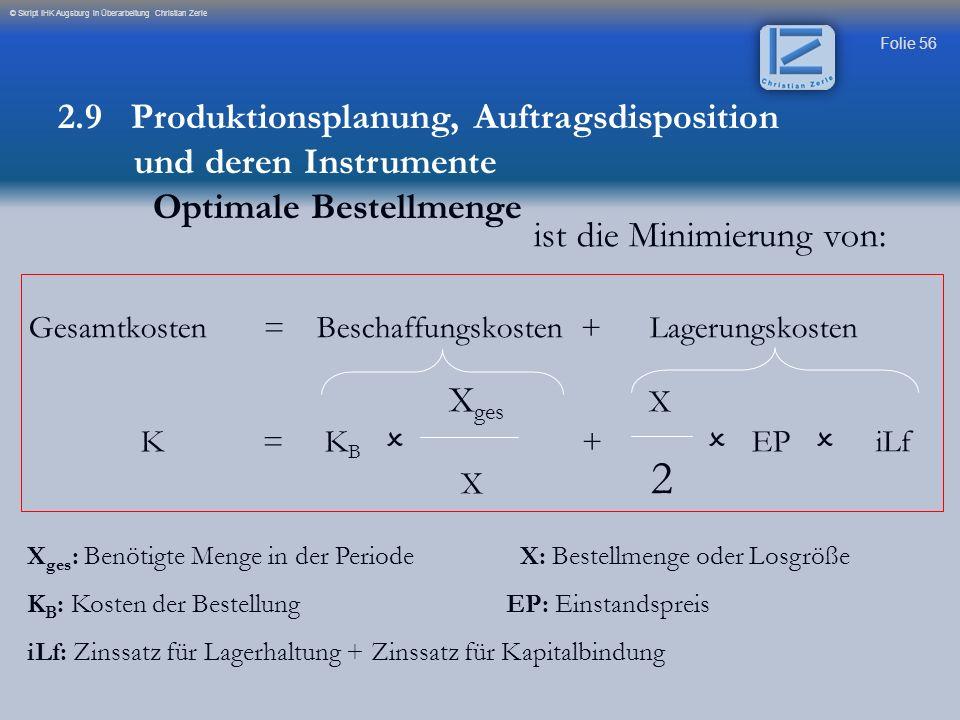 Folie 56 © Skript IHK Augsburg in Überarbeitung Christian Zerle ist die Minimierung von: Gesamtkosten = Beschaffungskosten + Lagerungskosten X ges X K