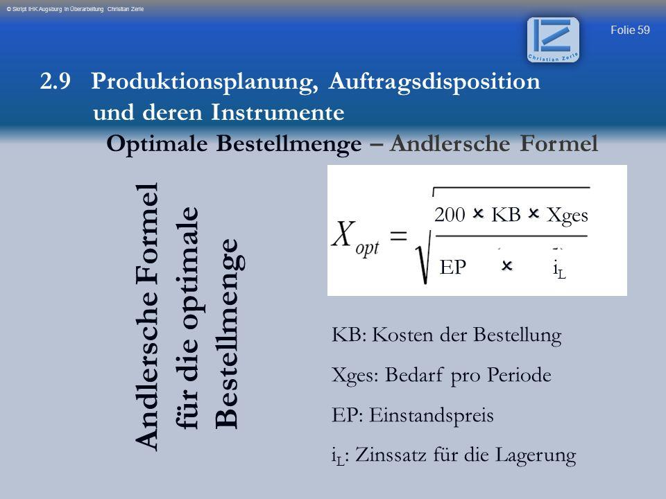 Folie 59 © Skript IHK Augsburg in Überarbeitung Christian Zerle Andlersche Formel für die optimale Bestellmenge 200 KB Xges EP i L KB: Kosten der Best