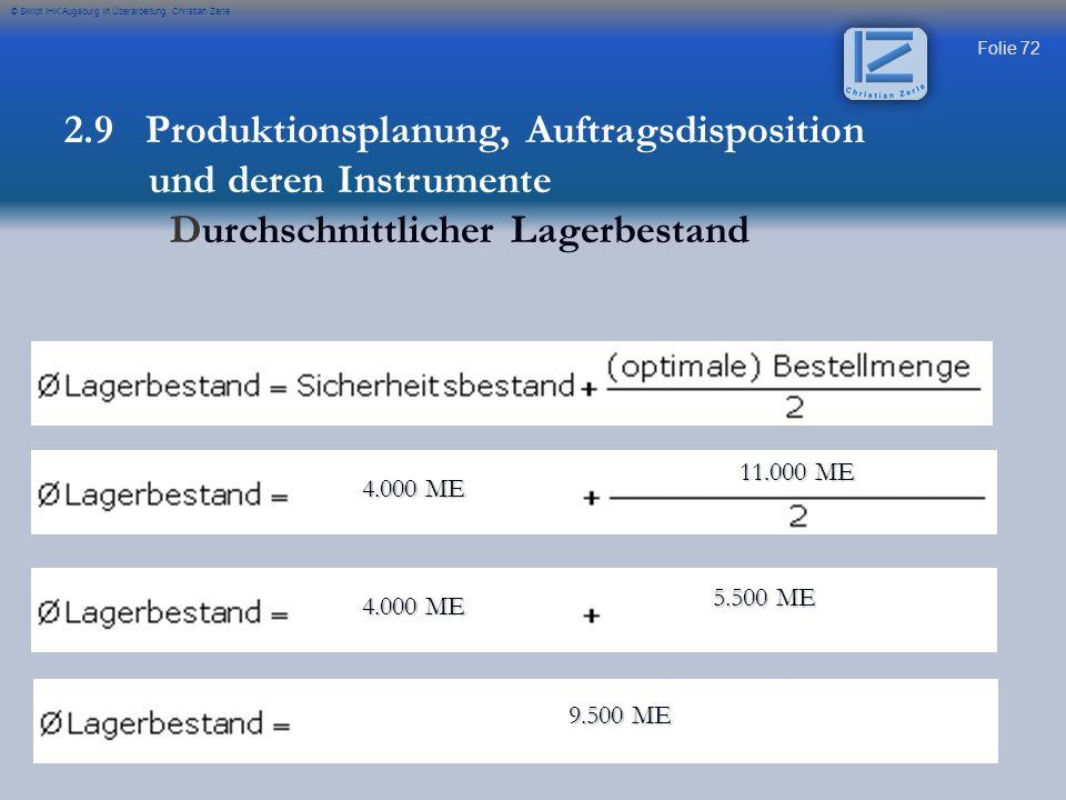 Folie 72 © Skript IHK Augsburg in Überarbeitung Christian Zerle 4.000 ME 4.000 ME 11.000 ME 11.000 ME 4.000 ME 4.000 ME 5.500 ME 5.500 ME 9.500 ME 9.5