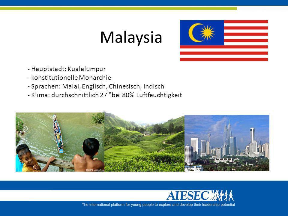Malaysia - Hauptstadt: Kualalumpur - konstitutionelle Monarchie - Sprachen: Malai, Englisch, Chinesisch, Indisch - Klima: durchschnittlich 27 °bei 80%