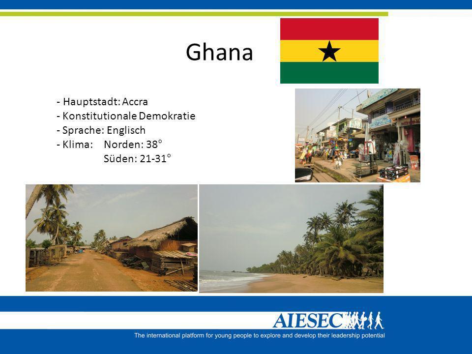 Ghana - Hauptstadt: Accra - Konstitutionale Demokratie - Sprache: Englisch - Klima: Norden: 38° Süden: 21-31°