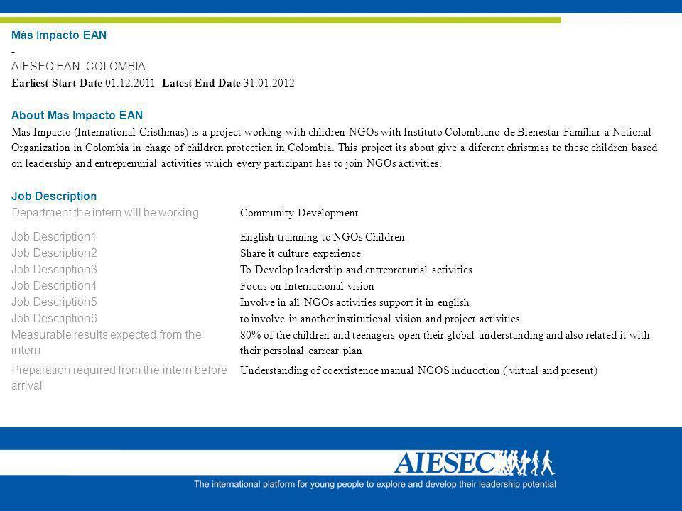 Más Impacto EAN - AIESEC EAN, COLOMBIA Earliest Start Date 01.12.2011 Latest End Date 31.01.2012 About Más Impacto EAN Mas Impacto (International Cris