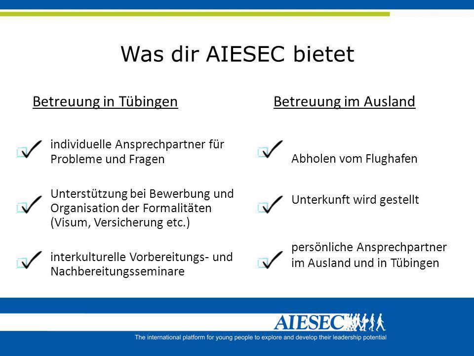 Was dir AIESEC bietet Betreuung in Tübingen individuelle Ansprechpartner für Probleme und Fragen Unterstützung bei Bewerbung und Organisation der Form
