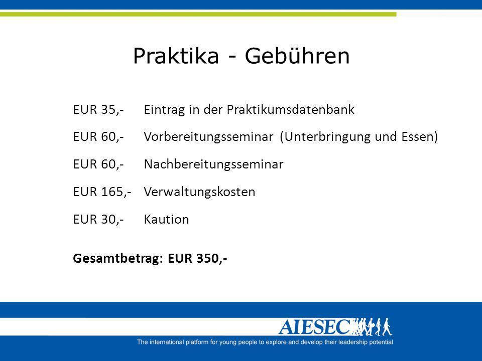 Praktika - Gebühren EUR 35,- Eintrag in der Praktikumsdatenbank EUR 60,- Vorbereitungsseminar (Unterbringung und Essen) EUR 60,- Nachbereitungsseminar