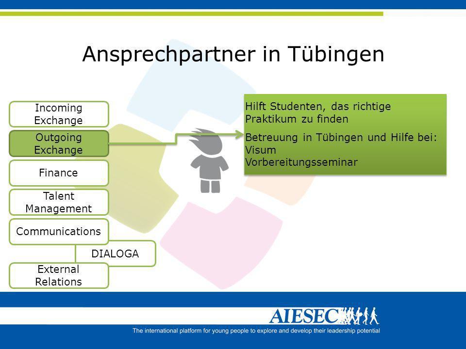 Ansprechpartner in Tübingen Finance DIALOGA Communications External Relations Incoming Exchange Outgoing Exchange Talent Management Hilft Studenten, d