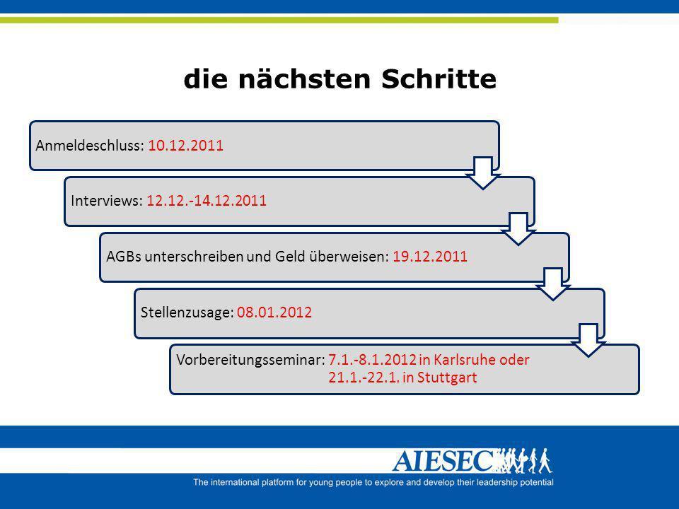 die nächsten Schritte Anmeldeschluss: 10.12.2011 Interviews: 12.12.-14.12.2011AGBs unterschreiben und Geld überweisen: 19.12.2011Stellenzusage: 08.01.