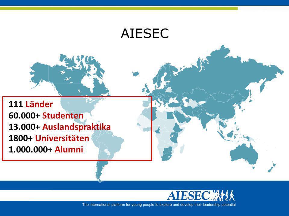 AIESEC 13.000+ Auslandspraktika 60.000+ Studenten 111 Länder 1800+ Universitäten 1.000.000+ Alumni