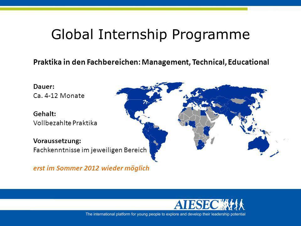 Global Internship Programme Praktika in den Fachbereichen: Management, Technical, Educational Dauer: Ca. 4-12 Monate Gehalt: Vollbezahlte Praktika Vor