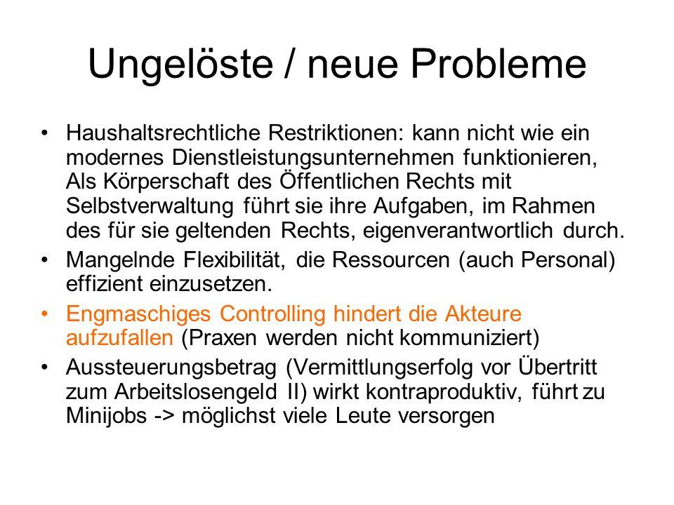 Ungelöste / neue Probleme Haushaltsrechtliche Restriktionen: kann nicht wie ein modernes Dienstleistungsunternehmen funktionieren, Als Körperschaft de