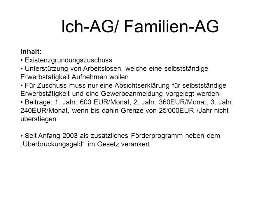 Ich-AG/ Familien-AG Inhalt: Existenzgründungszuschuss Unterstützung von Arbeitslosen, welche eine selbstständige Erwerbstätigkeit Aufnehmen wollen Für