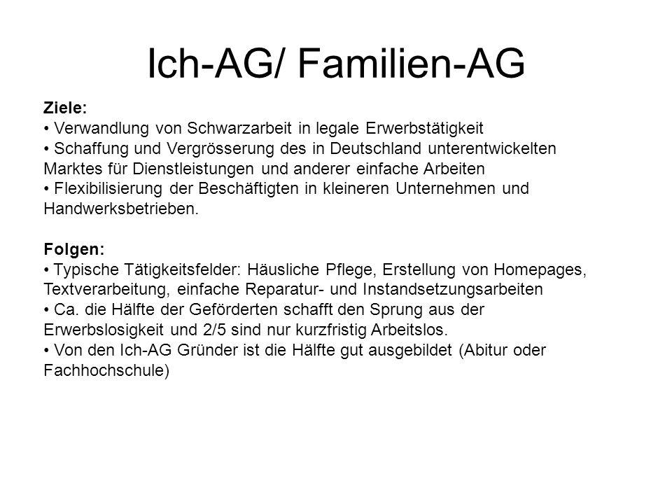 Ziele: Verwandlung von Schwarzarbeit in legale Erwerbstätigkeit Schaffung und Vergrösserung des in Deutschland unterentwickelten Marktes für Dienstlei