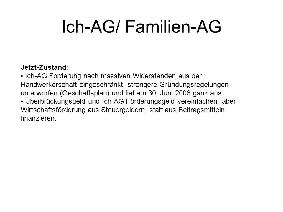 Jetzt-Zustand: Ich-AG Förderung nach massiven Widerständen aus der Handwerkerschaft eingeschränkt, strengere Gründungsregelungen unterworfen (Geschäft