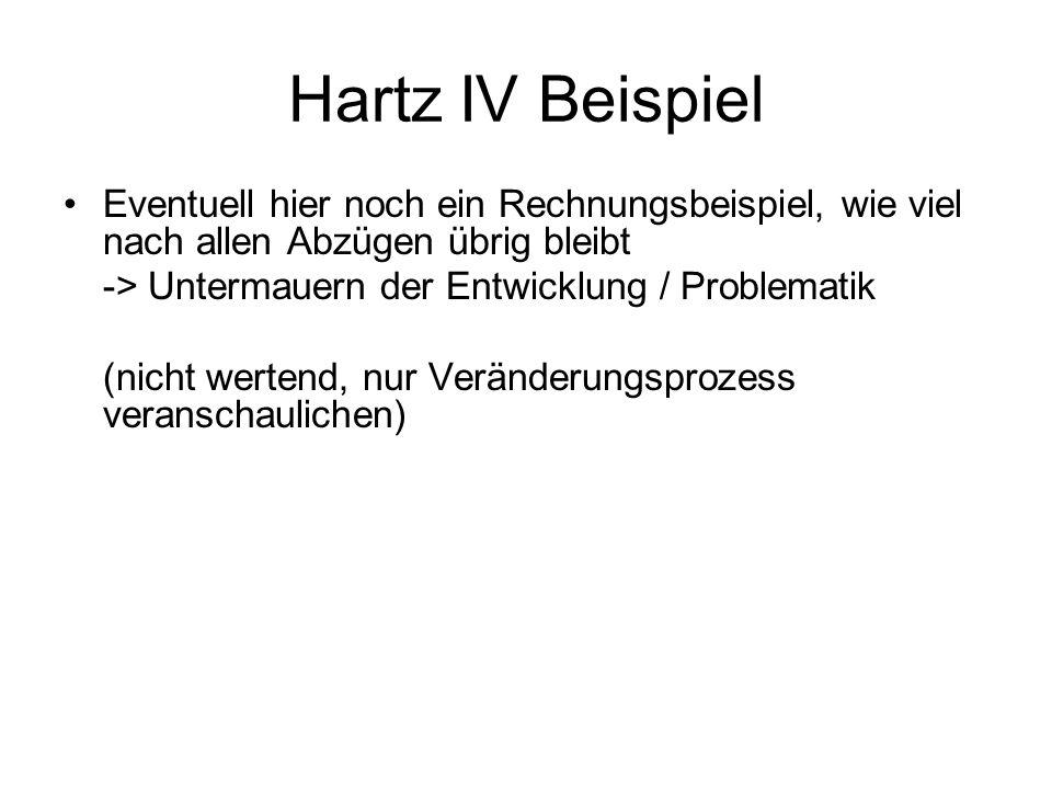 Hartz IV Beispiel Eventuell hier noch ein Rechnungsbeispiel, wie viel nach allen Abzügen übrig bleibt -> Untermauern der Entwicklung / Problematik (ni