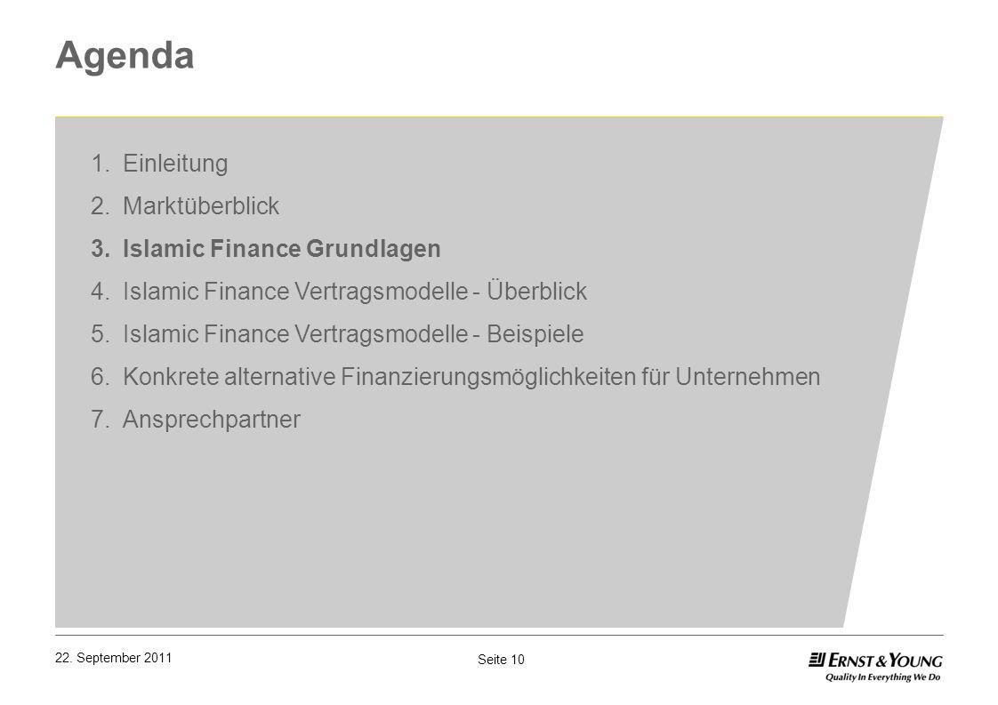 Seite 10 22. September 2011 Agenda 1.Einleitung 2.Marktüberblick 3.Islamic Finance Grundlagen 4.Islamic Finance Vertragsmodelle - Überblick 5.Islamic