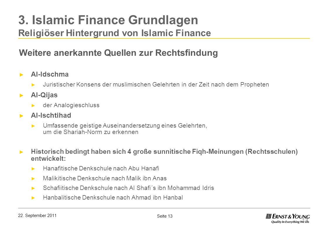 Seite 13 22. September 2011 Weitere anerkannte Quellen zur Rechtsfindung Al-Idschma Juristischer Konsens der muslimischen Gelehrten in der Zeit nach d