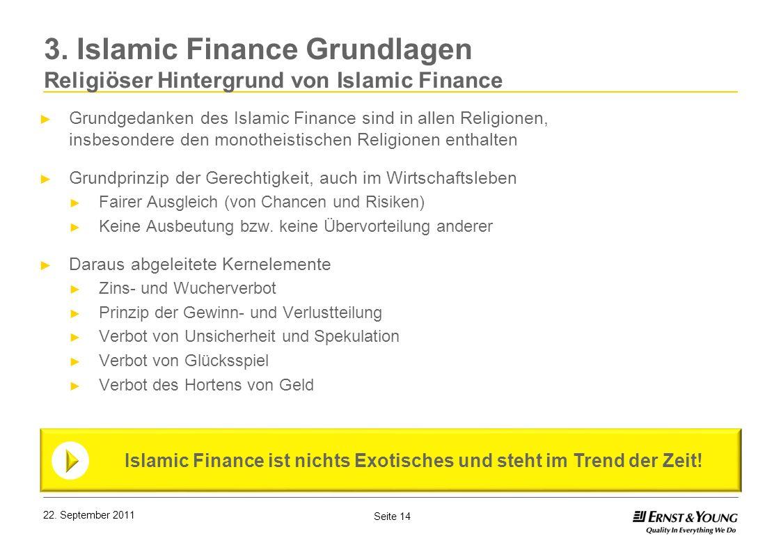 Seite 14 3. Islamic Finance Grundlagen Religiöser Hintergrund von Islamic Finance Islamic Finance ist nichts Exotisches und steht im Trend der Zeit! G