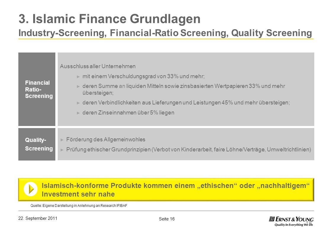 Seite 16 22. September 2011 16 Financial Ratio- Screening Quelle: Eigene Darstellung in Anlehnung an Research IFIBAF Förderung des Allgemeinwohles Prü