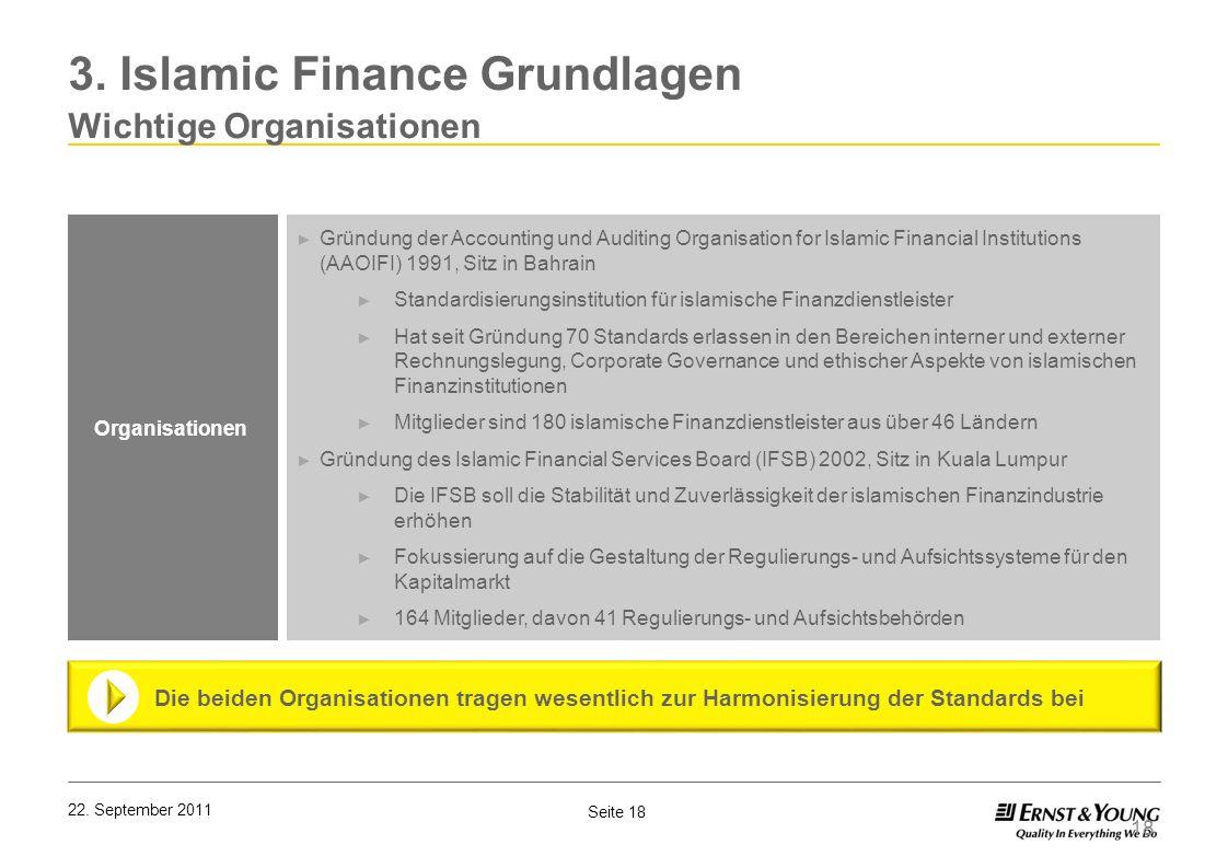 Seite 18 22. September 2011 18 Organisationen Gründung der Accounting und Auditing Organisation for Islamic Financial Institutions (AAOIFI) 1991, Sitz