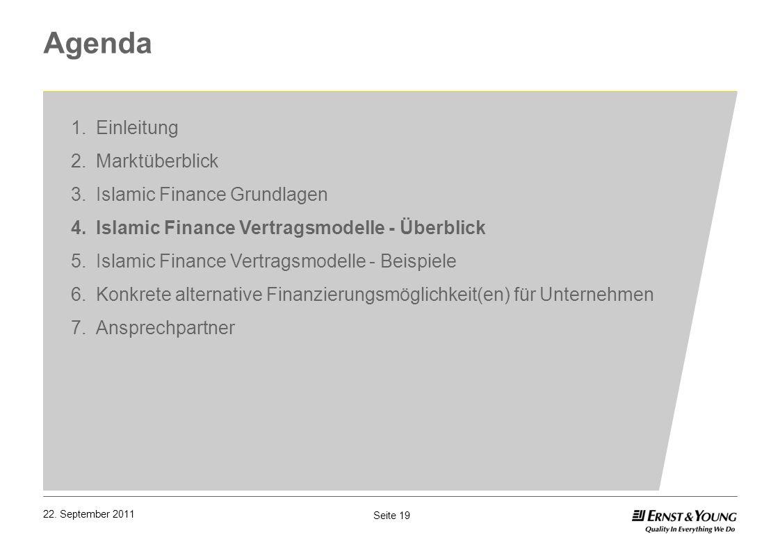 Seite 19 22. September 2011 Agenda 1.Einleitung 2.Marktüberblick 3.Islamic Finance Grundlagen 4.Islamic Finance Vertragsmodelle - Überblick 5.Islamic
