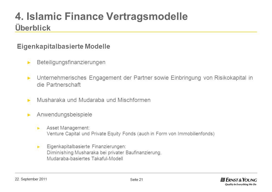 Seite 21 22. September 2011 Eigenkapitalbasierte Modelle Beteiligungsfinanzierungen Unternehmerisches Engagement der Partner sowie Einbringung von Ris