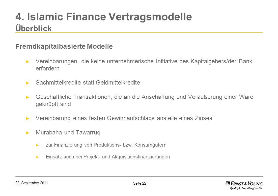 Seite 22 22. September 2011 4. Islamic Finance Vertragsmodelle Überblick Fremdkapitalbasierte Modelle Vereinbarungen, die keine unternehmerische Initi