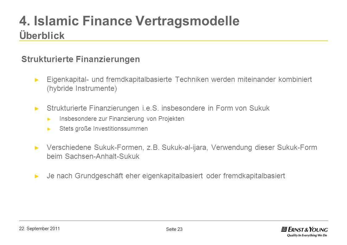 Seite 23 22. September 2011 4. Islamic Finance Vertragsmodelle Überblick Strukturierte Finanzierungen Eigenkapital- und fremdkapitalbasierte Techniken