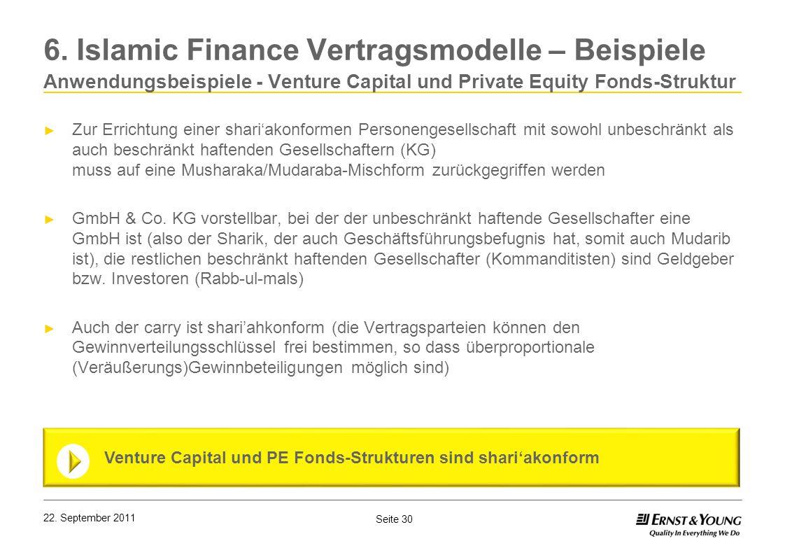 Seite 30 22. September 2011 6. Islamic Finance Vertragsmodelle – Beispiele Anwendungsbeispiele - Venture Capital und Private Equity Fonds-Struktur Zur