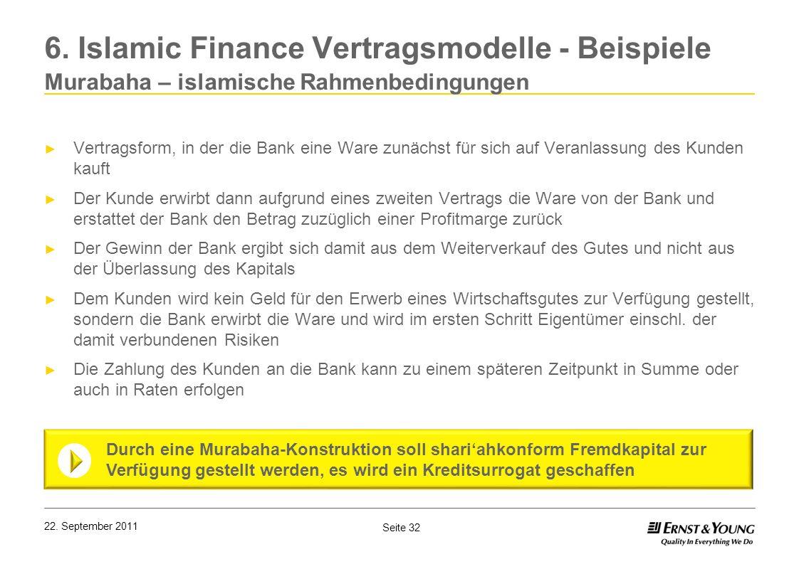Seite 32 22. September 2011 6. Islamic Finance Vertragsmodelle - Beispiele Murabaha – islamische Rahmenbedingungen Vertragsform, in der die Bank eine