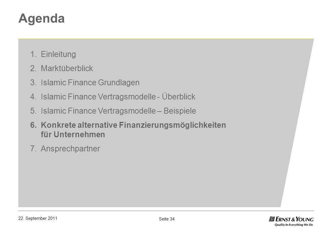 Seite 34 22. September 2011 Agenda 1.Einleitung 2.Marktüberblick 3.Islamic Finance Grundlagen 4.Islamic Finance Vertragsmodelle - Überblick 5.Islamic