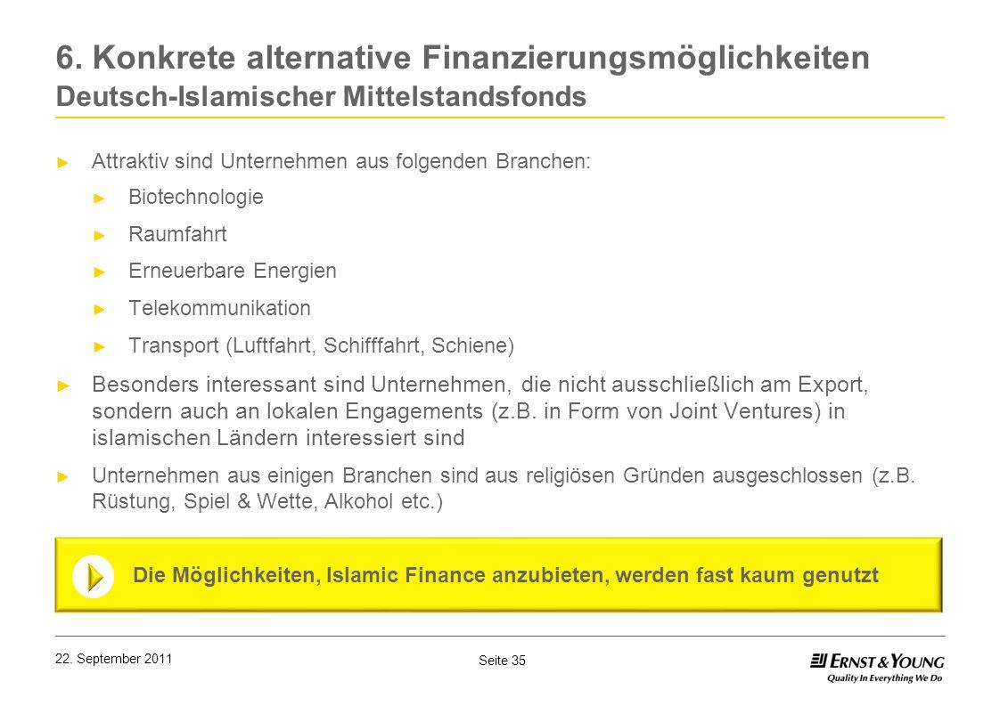 Seite 35 22. September 2011 6. Konkrete alternative Finanzierungsmöglichkeiten Deutsch-Islamischer Mittelstandsfonds Attraktiv sind Unternehmen aus fo