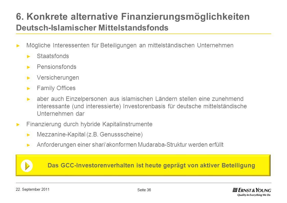Seite 36 22. September 2011 6. Konkrete alternative Finanzierungsmöglichkeiten Deutsch-Islamischer Mittelstandsfonds Mögliche Interessenten für Beteil