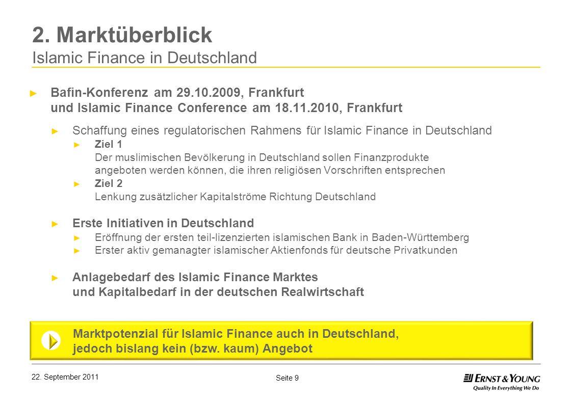 Seite 9 2. Marktüberblick Islamic Finance in Deutschland Bafin-Konferenz am 29.10.2009, Frankfurt und Islamic Finance Conference am 18.11.2010, Frankf