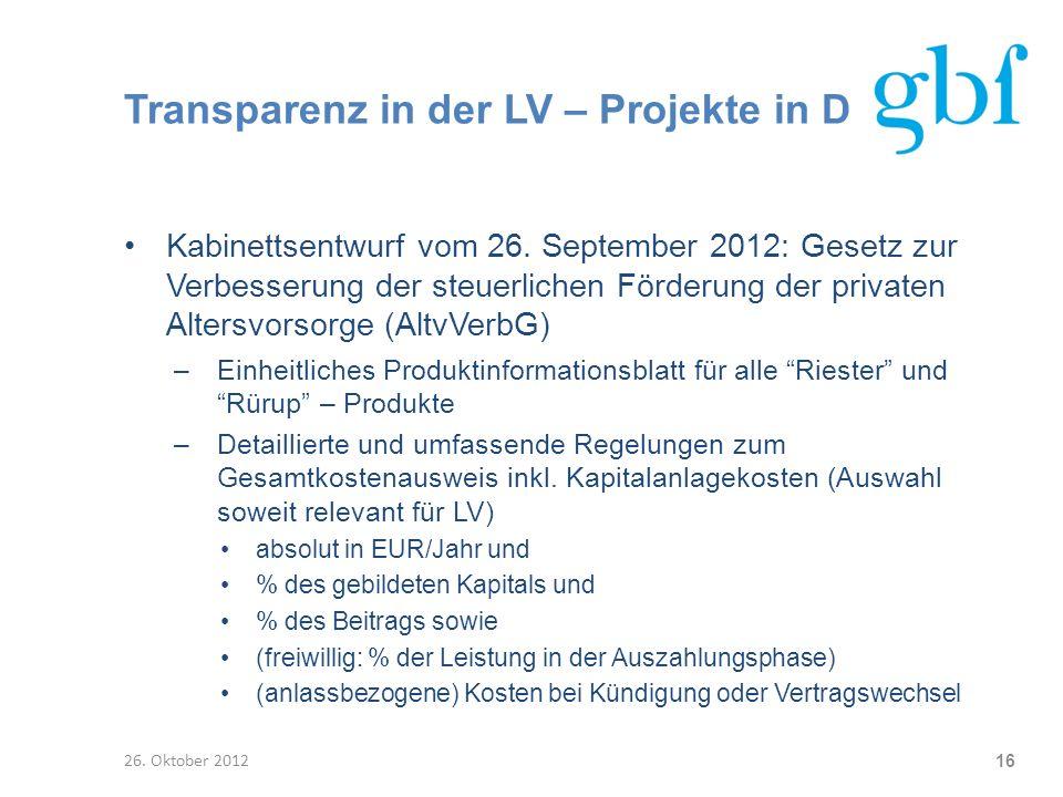 Transparenz in der LV – Projekte in D Kabinettsentwurf vom 26. September 2012: Gesetz zur Verbesserung der steuerlichen Förderung der privaten Altersv