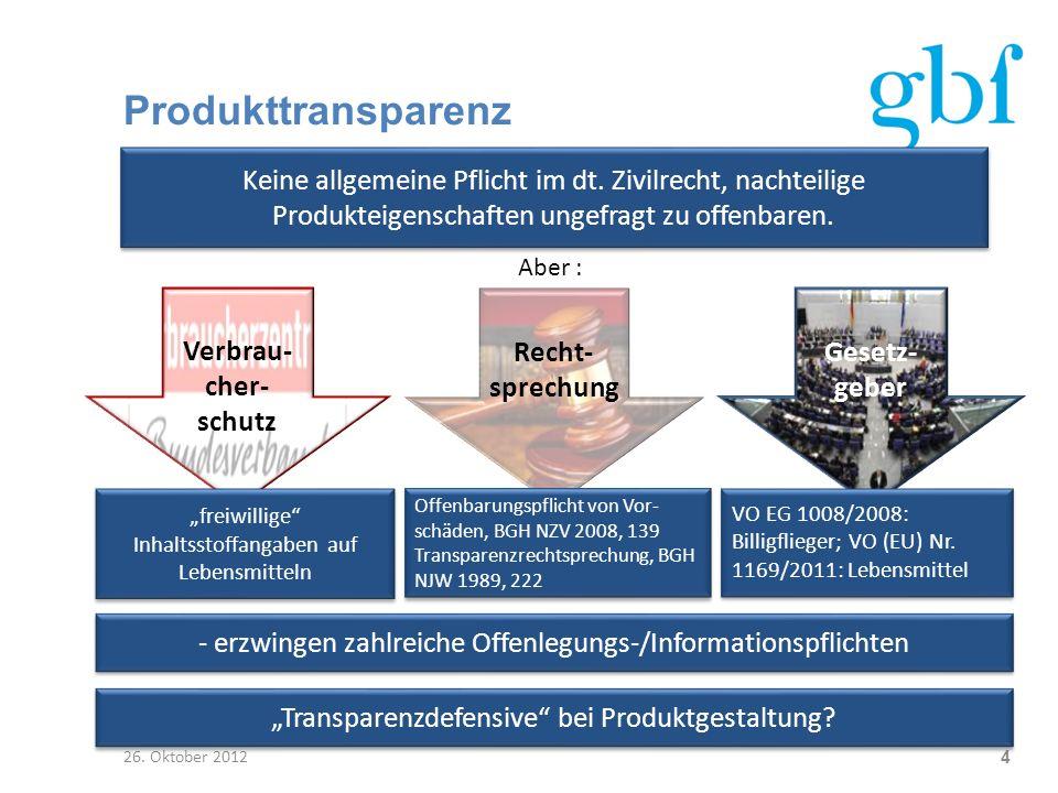 Produkttransparenz 26. Oktober 2012 4 Keine allgemeine Pflicht im dt. Zivilrecht, nachteilige Produkteigenschaften ungefragt zu offenbaren. Aber : Ver