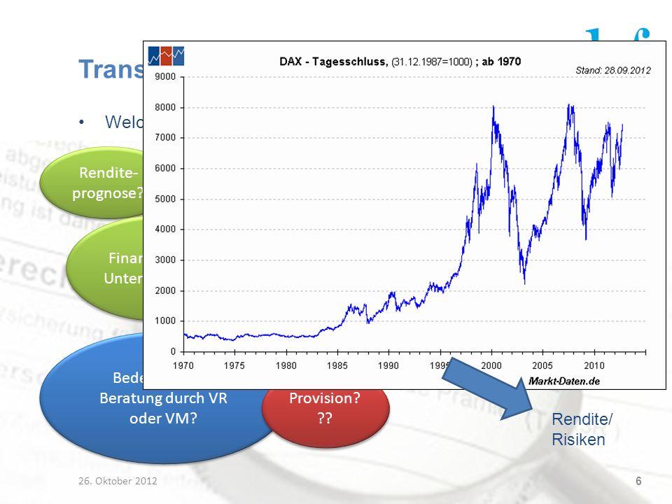 Transparenz in der LV Welche Info braucht der VN für ein Produktverständnis (Rendite)? 26. Oktober 2012 6 Kosten? (Fonds-) Performance der Vergangenhe