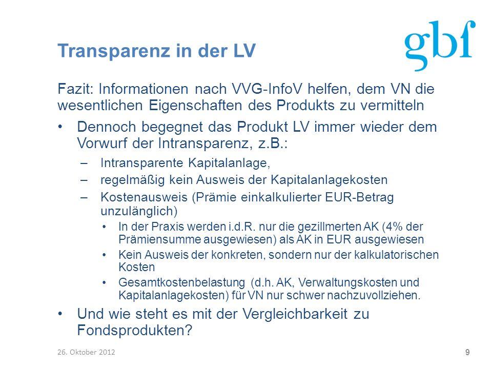 Transparenz in der LV Fazit: Informationen nach VVG-InfoV helfen, dem VN die wesentlichen Eigenschaften des Produkts zu vermitteln Dennoch begegnet da