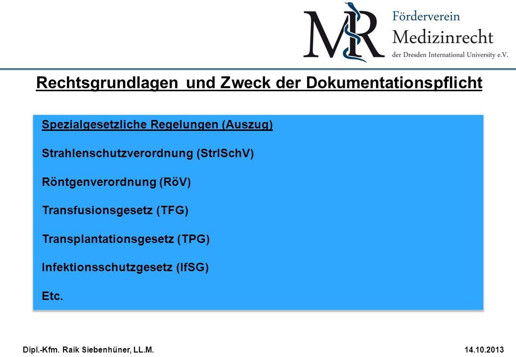 StudiengangDatum · Folie 10 Dipl.-Kfm. Raik Siebenhüner, LL.M.14.10.2013 Spezialgesetzliche Regelungen (Auszug) Strahlenschutzverordnung (StrlSchV) Rö