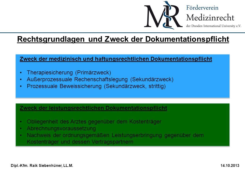 StudiengangDatum · Folie 17 Dipl.-Kfm. Raik Siebenhüner, LL.M.14.10.2013 Zweck der medizinisch und haftungsrechtlichen Dokumentationspflicht Therapies