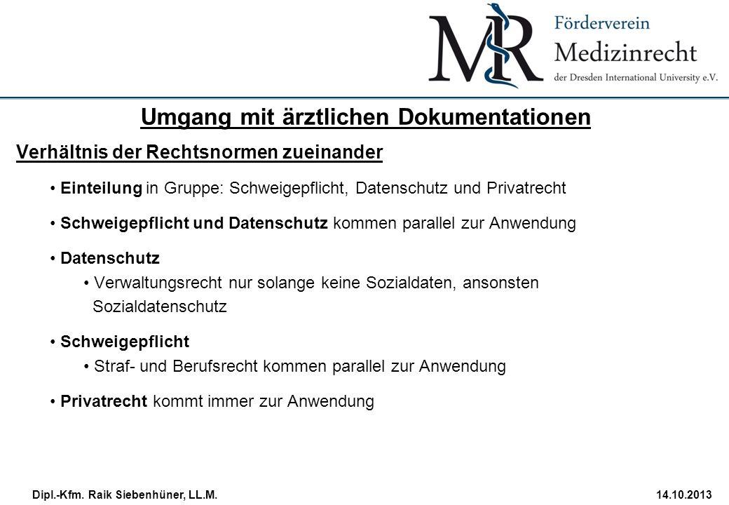 StudiengangDatum · Folie 26 Dipl.-Kfm. Raik Siebenhüner, LL.M.14.10.2013 Verhältnis der Rechtsnormen zueinander Einteilung in Gruppe: Schweigepflicht,