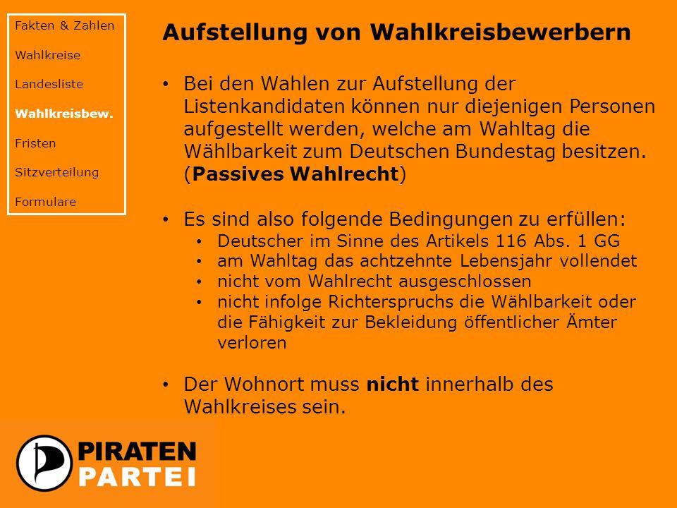 Aufstellung von Wahlkreisbewerbern Bei den Wahlen zur Aufstellung der Listenkandidaten können nur diejenigen Personen aufgestellt werden, welche am Wahltag die Wählbarkeit zum Deutschen Bundestag besitzen.