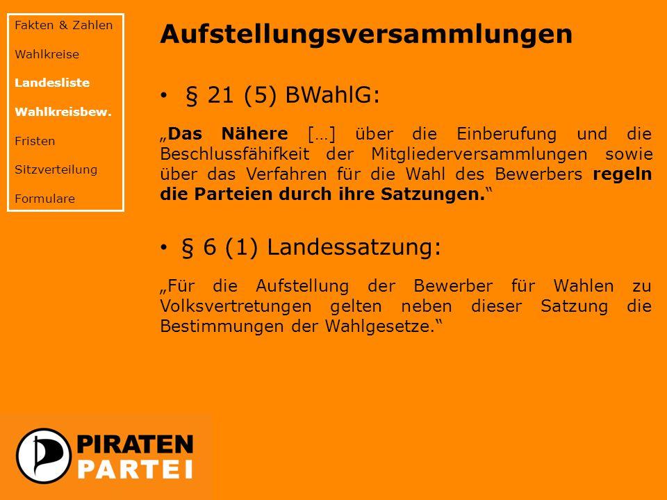 Fakten & Zahlen Wahlkreise Landesliste Wahlkreisbew. Fristen Sitzverteilung Formulare Aufstellungsversammlungen § 21 (5) BWahlG: Das Nähere […] über d
