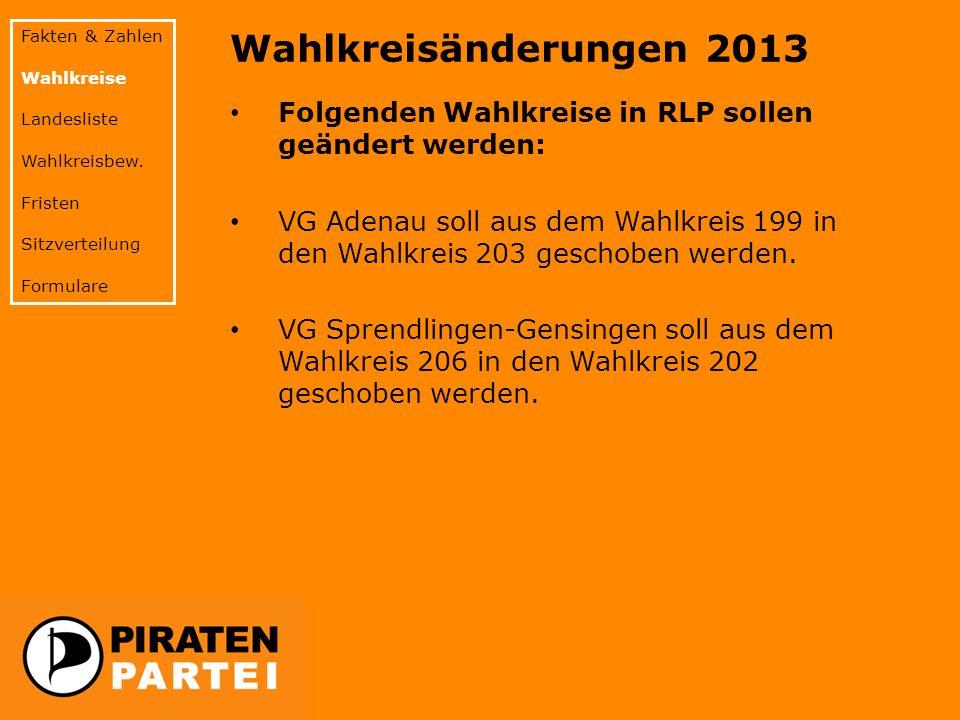 Wahlkreisänderungen 2013 Folgenden Wahlkreise in RLP sollen geändert werden: VG Adenau soll aus dem Wahlkreis 199 in den Wahlkreis 203 geschoben werde