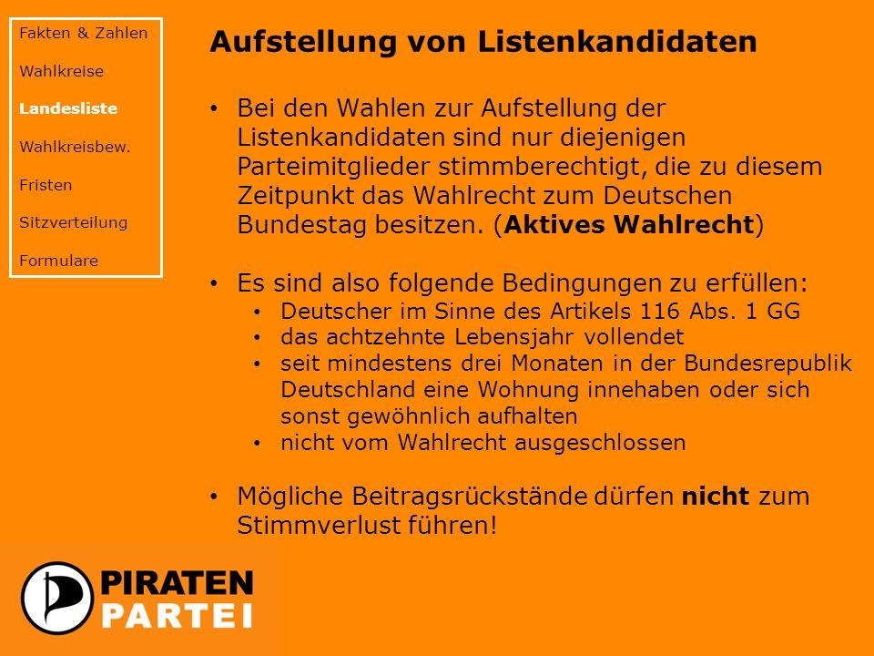 Aufstellung von Listenkandidaten Bei den Wahlen zur Aufstellung der Listenkandidaten sind nur diejenigen Parteimitglieder stimmberechtigt, die zu diesem Zeitpunkt das Wahlrecht zum Deutschen Bundestag besitzen.