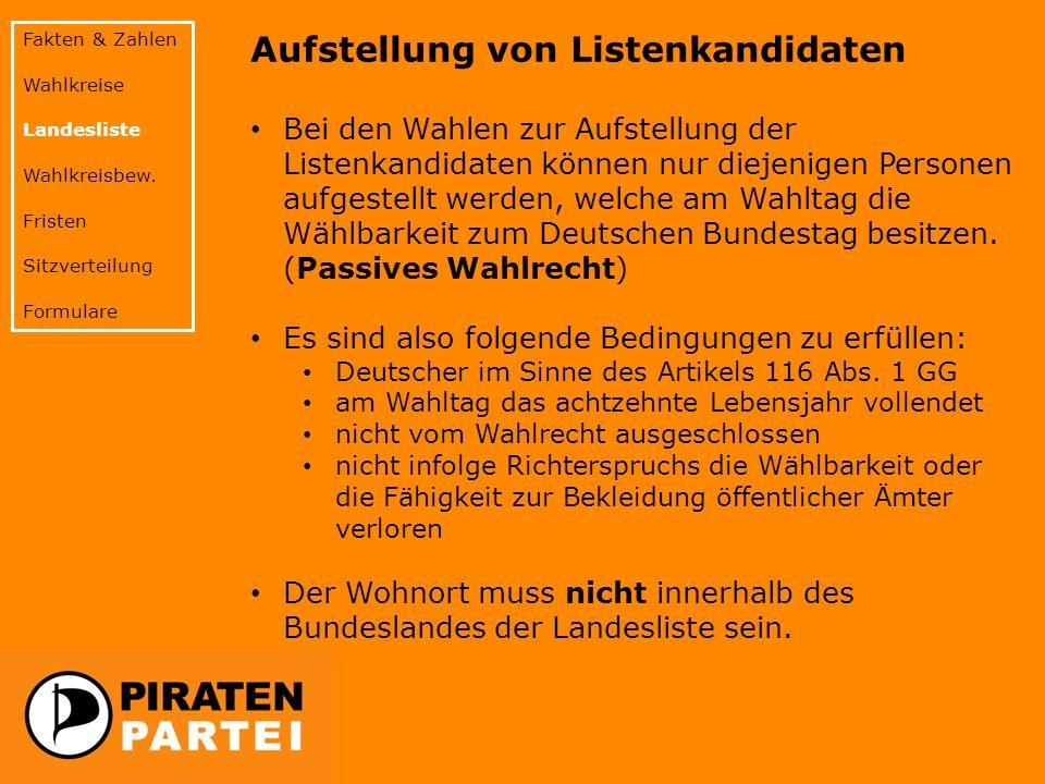Aufstellung von Listenkandidaten Bei den Wahlen zur Aufstellung der Listenkandidaten können nur diejenigen Personen aufgestellt werden, welche am Wahltag die Wählbarkeit zum Deutschen Bundestag besitzen.