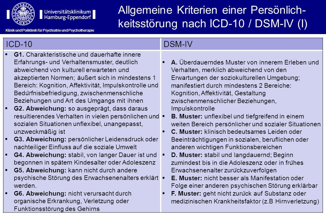 Klinik und Poliklinik für Psychiatrie und Psychotherapie ICD-10DSM-IV G1. Charakteristische und dauerhafte innere Erfahrungs- und Verhaltensmuster, de