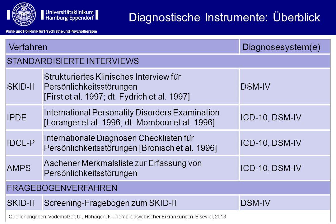 Klinik und Poliklinik für Psychiatrie und Psychotherapie VerfahrenDiagnosesystem(e) STANDARDISIERTE INTERVIEWS SKID-II Strukturiertes Klinisches Inter