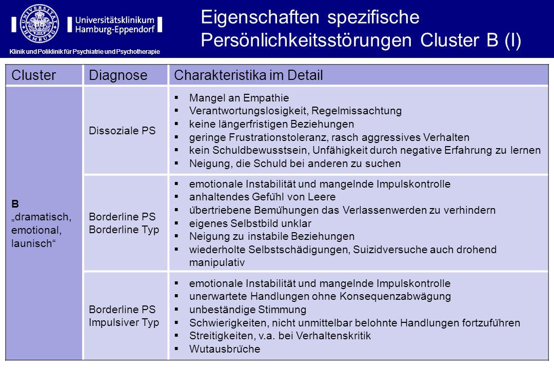 Klinik und Poliklinik für Psychiatrie und Psychotherapie Eigenschaften spezifische Persönlichkeitsstörungen Cluster B (I) ClusterDiagnoseCharakteristi