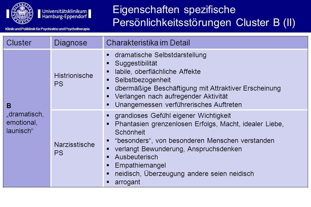 Klinik und Poliklinik für Psychiatrie und Psychotherapie Eigenschaften spezifische Persönlichkeitsstörungen Cluster B (II) ClusterDiagnoseCharakterist