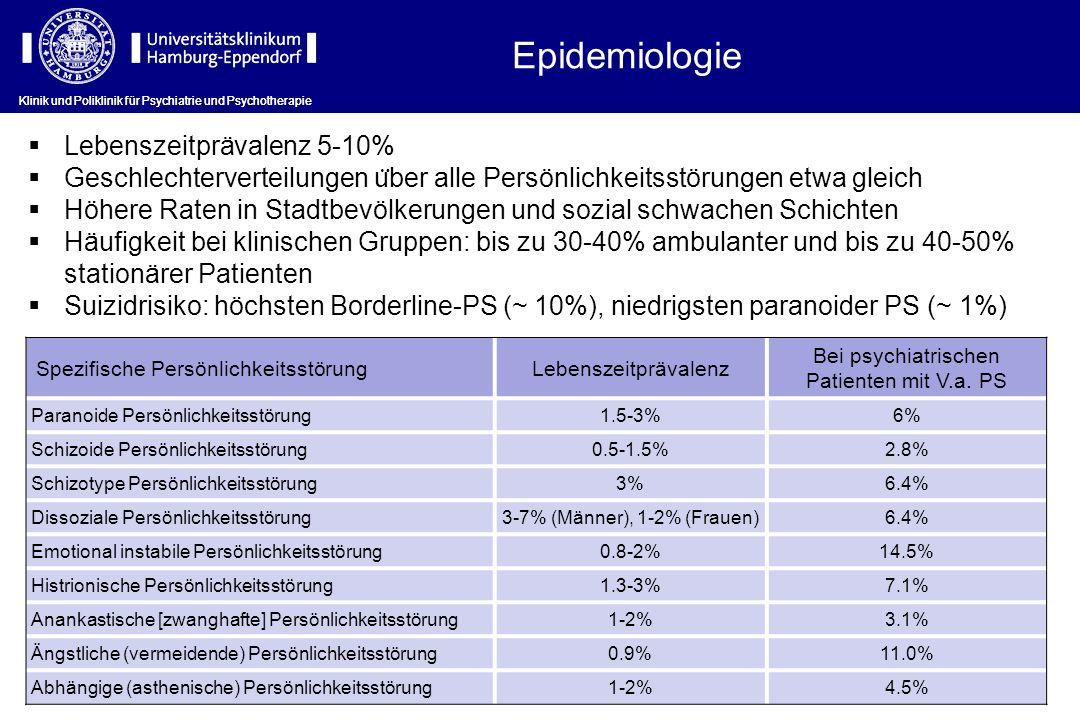 Klinik und Poliklinik für Psychiatrie und Psychotherapie Häufigkeit von Persönlichkeitsstörungen bei Patienten mit PTBS ClusterDSM-VHäufigkeit A Paranoide PS82-90% Schizoide PS30-59% (Schizotype Störung: F21)66-77% B Dissoziale PS10-54% Borderline PS52-92% Histrionische PS5-40% Narzisstische PS2-37% C Ängstliche PS50-63% Abhängige PS38-40% Anankastische PS47-68%