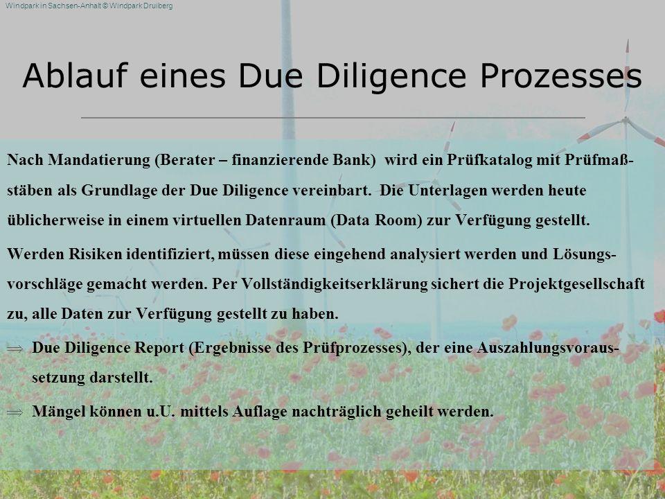 Windpark in Sachsen-Anhalt © Windpark Druiberg Ablauf eines Due Diligence Prozesses Nach Mandatierung (Berater – finanzierende Bank) wird ein Prüfkata
